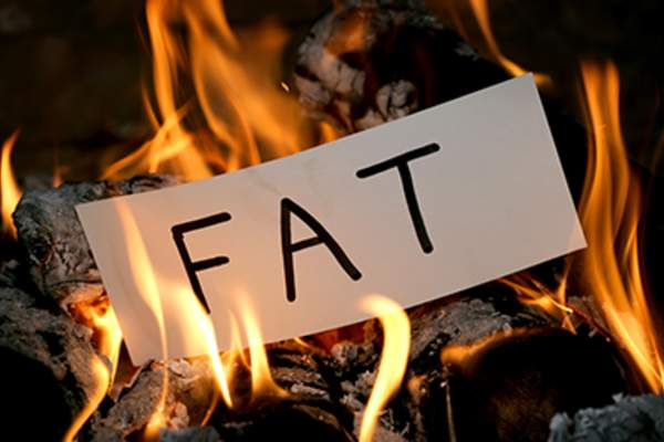 Burning a piece of paper that says 'fat.'