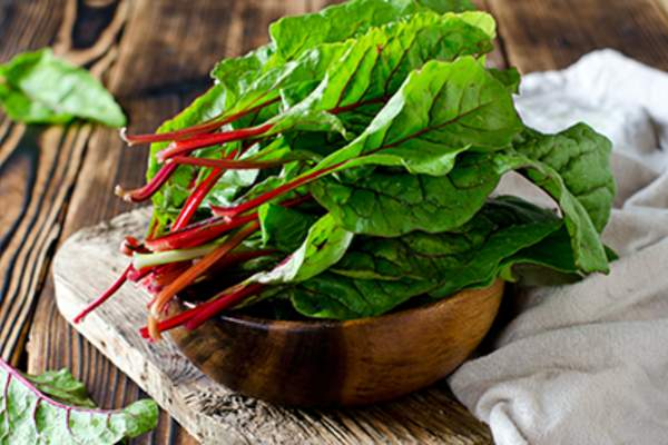 Chard leaves in a bowl.