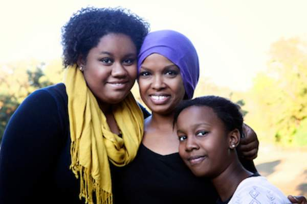 Mother with cancer and her two daughters.