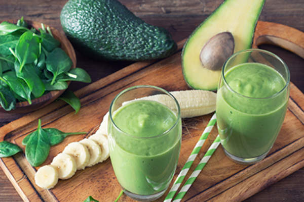 Spinach and avocado smoothie.