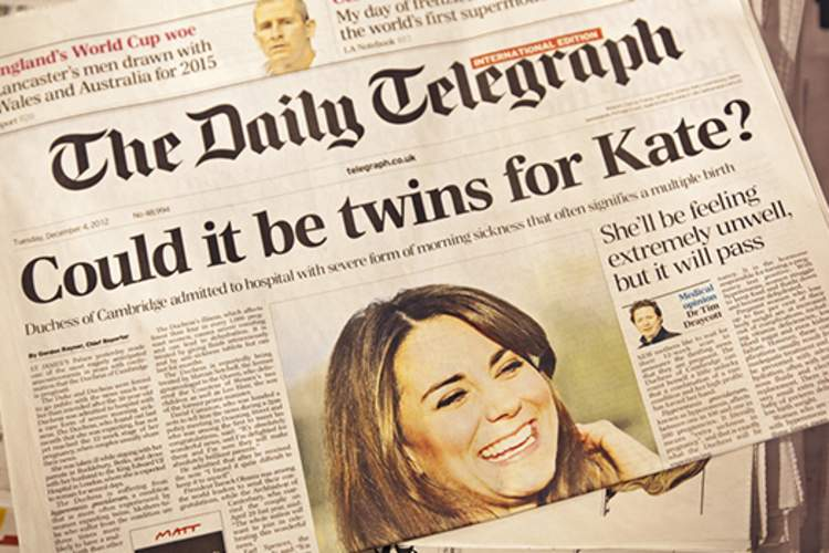 The Daily Telegraph Princess Kate expecting.