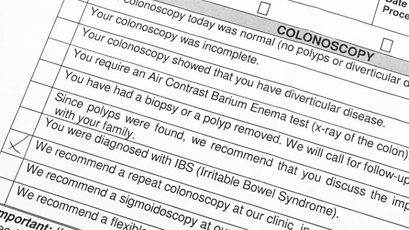 Colonoscopy discharge sheet.