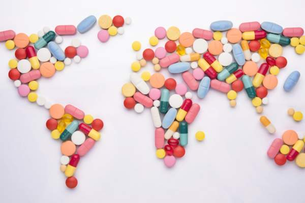 world map made of medications.
