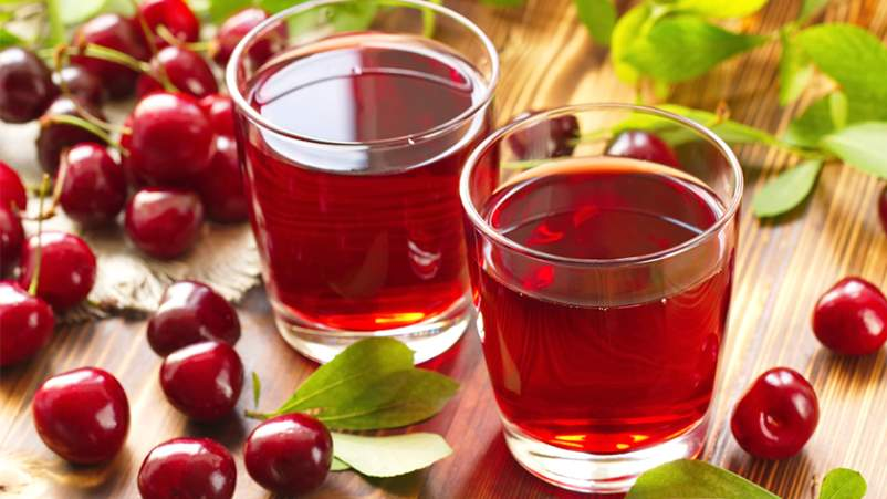 Fresh cherries and cherry juice.