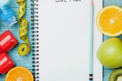 Diet plan, fruit, water, and weights