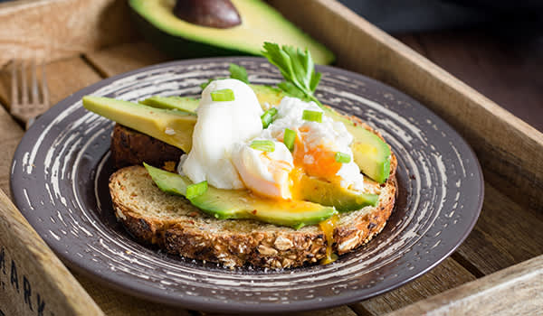 Poached egg and avocado toast.