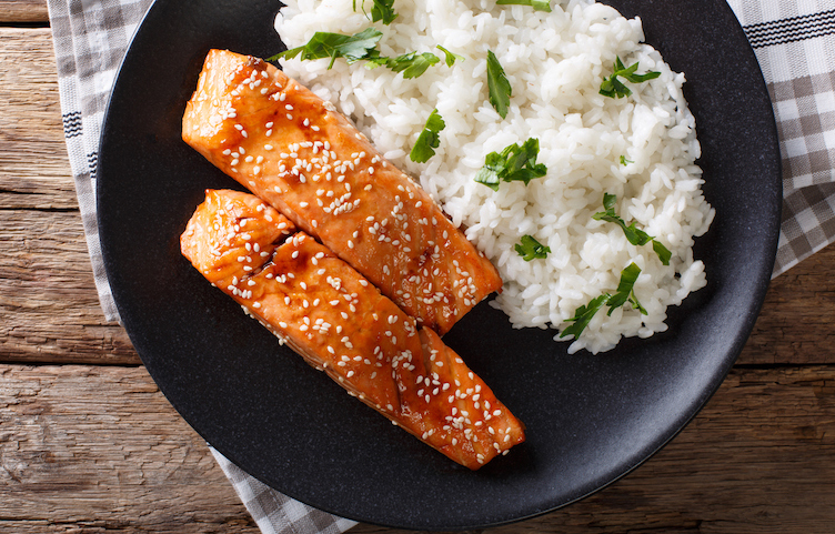 Honey glazed salmon with rice.