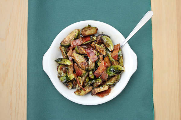 Roasted brussel sprouts with bacon.