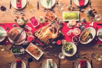 Overview of holiday meal.