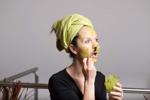 Snacking on face scrub.