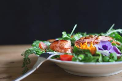 Side-view of salad with salmon
