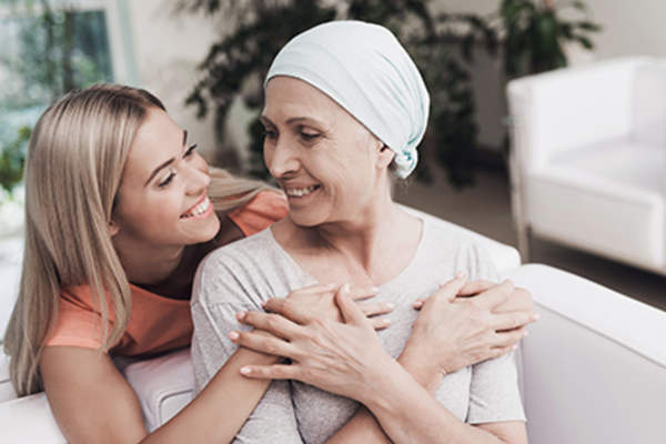 Daughter and mother with leukemia.