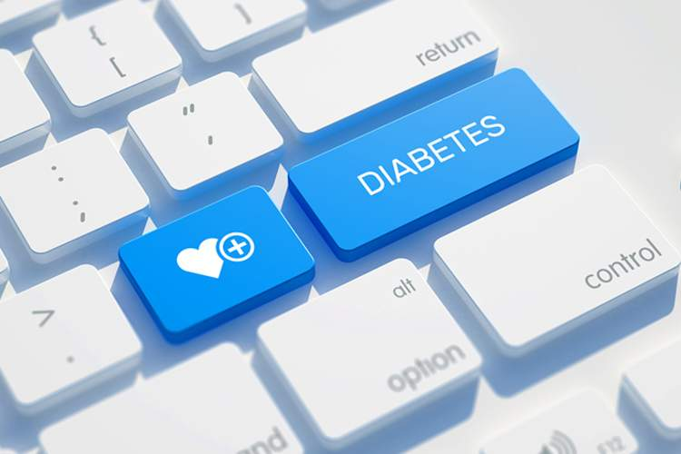Diabetes and heart health on keyboard, control diabetes concept.