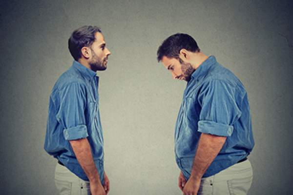 Man with weight loss, weight gain concept.
