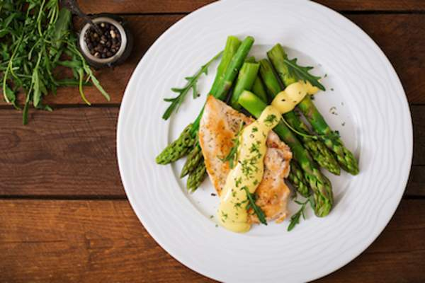 Chicken breast and asparagus.