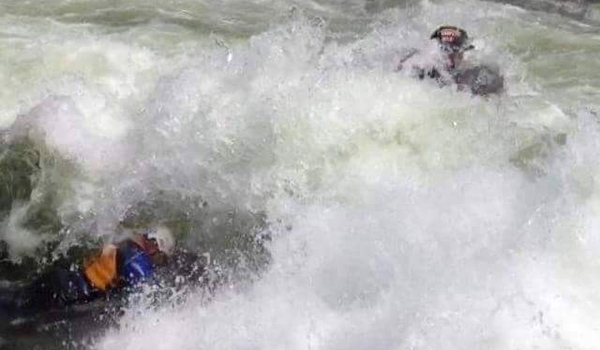man in rapids