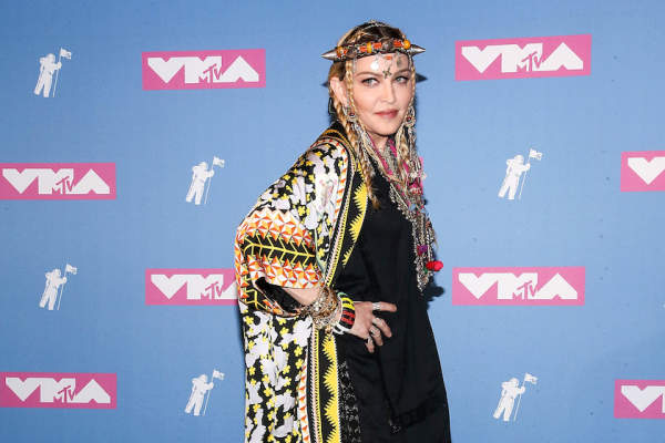 Madonna poses in the press room at the 2018 MTV Video Music Awards.
