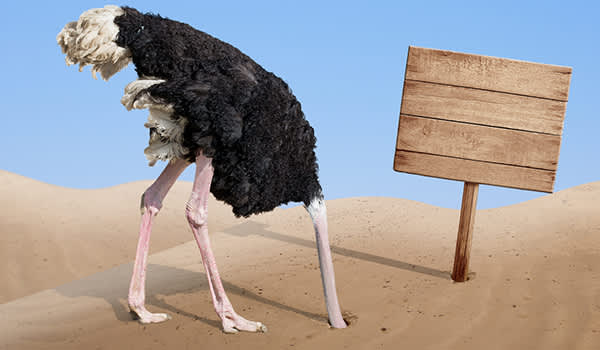ostrich burying head in sand in denial image