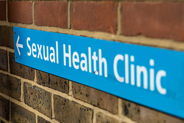 Sexual health clinic sign.