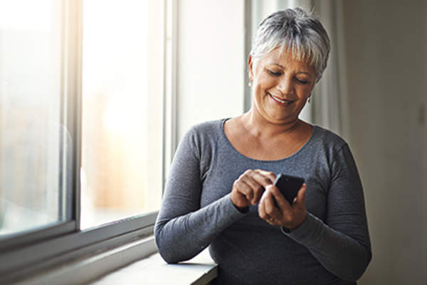 Senior woman using a smartphone.