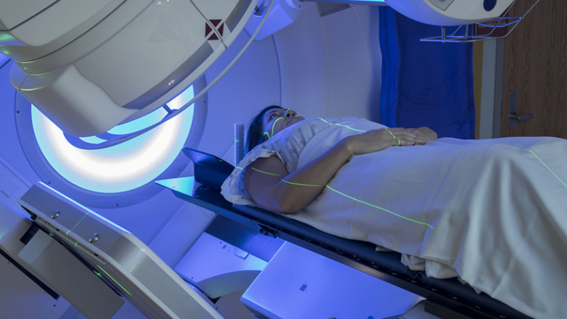 Woman having chest CT scan.