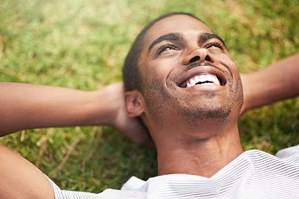 happy man relaxing image