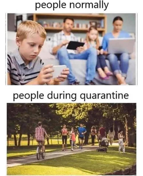 Meme of people acting normally versus how they act during a quarantine