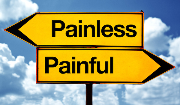 Painless and pain street signs pointing in opposite directions.