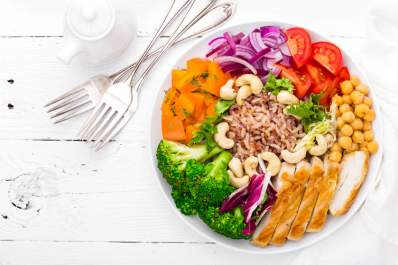Plate of healthy food as part of a weight loss program to manage diabetes.