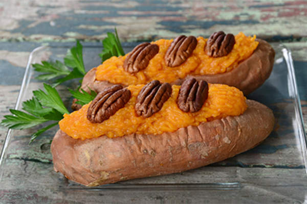 Twice baked sweet potatoes with pecans.