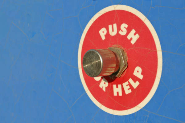 push button for help; get help concept.