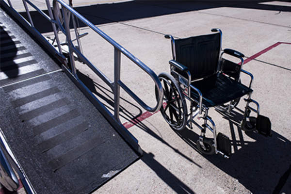 Wheelchair and ramp.