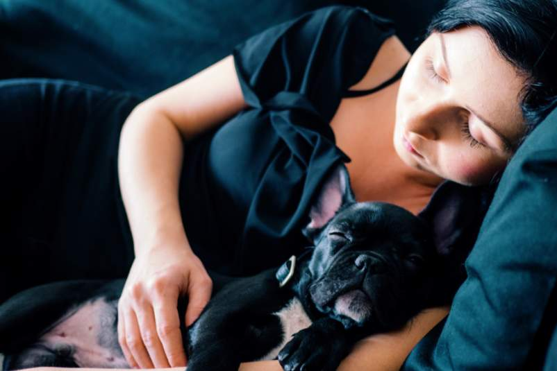 woman and pug sleeping on couch