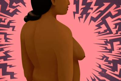 Illustration promo - ominous, woman turned to the side, breast cancer concept