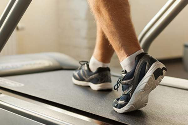 Exercising on treadmill