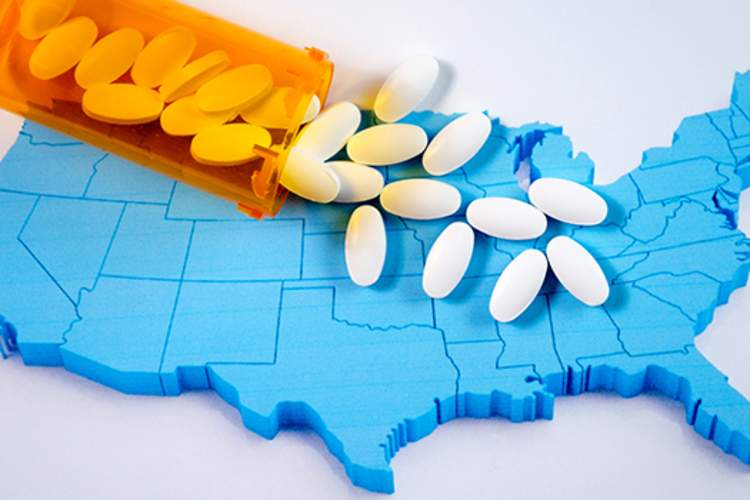 Pills over model of the U.S.