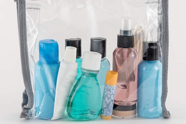 toiletries packed for trip image