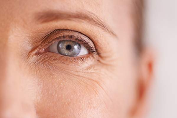 Closeup of a middle age woman's eyes.
