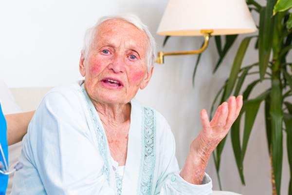 Angry dementia patient image.
