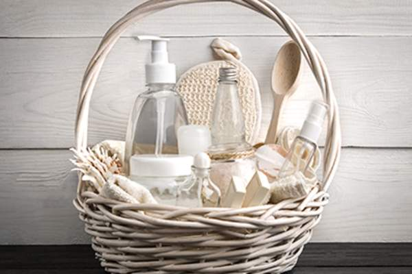 Skin care products in a basket.