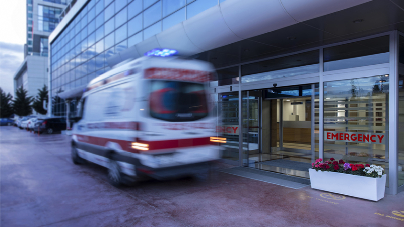 Ambulance at emergency room.
