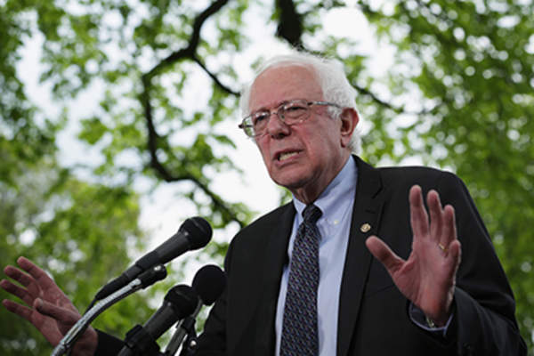 Sen. Bernard Sanders (I-VT) speaks on his agenda for America during a news conference on Capitol Hill April 30, 2015 in Washington, DC.