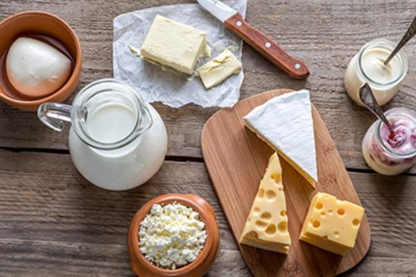 Various types of dairy products.