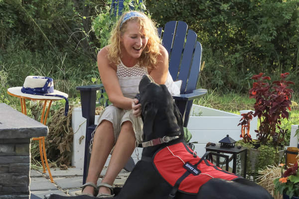 woman with service dog
