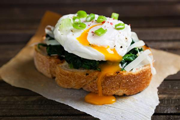 Benedict eggs with chives on top
