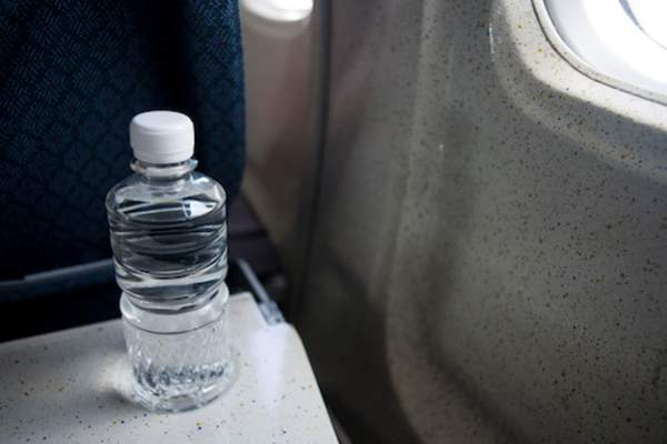 water bottle on airplane