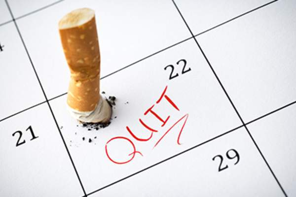Quit smoking marked on calendar