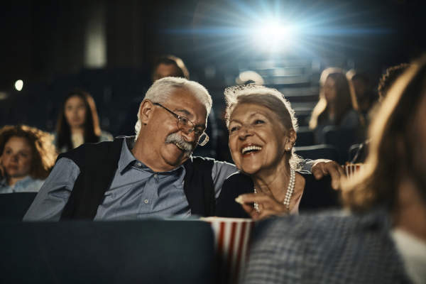 senior couple at the movies