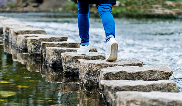Feet stepping across stones on a river.
