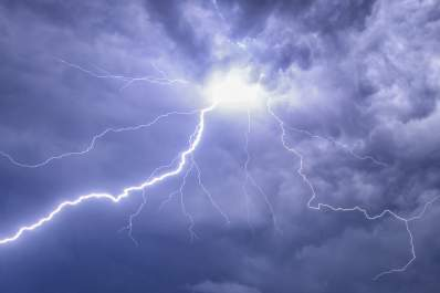 Thunderstorm clouds with lightning to illustrate thunderstorm asthma